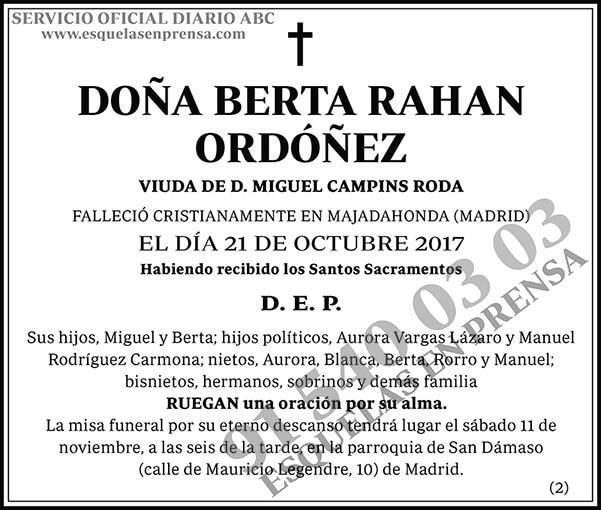 Berta Rahan Ordóñez